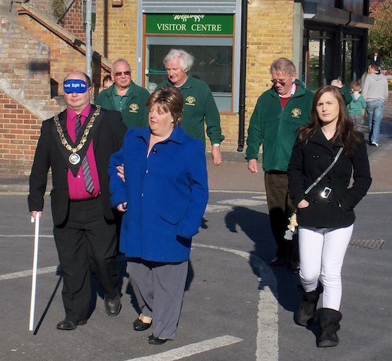 Westbury Mayor David Widness on a blindfolded walk through the town centre
