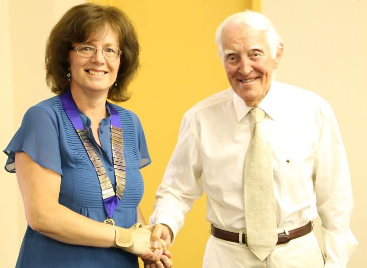 President Anita Drago welcomes Stan Flukes back to the club