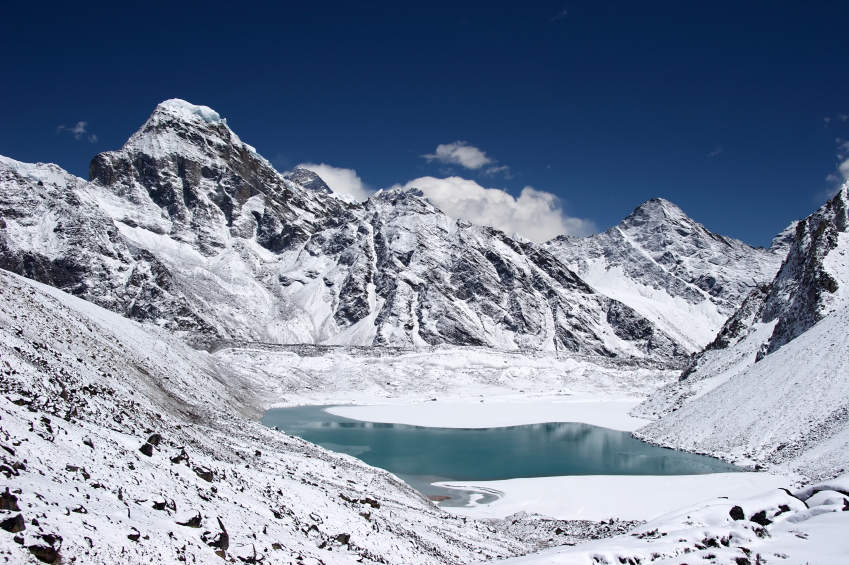 Thonak Tsho lake and Kanchung mountain with Everest summit in background. Himalaya, Nepal.